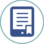 Dark blue icon of an electronic book in a light blue circle